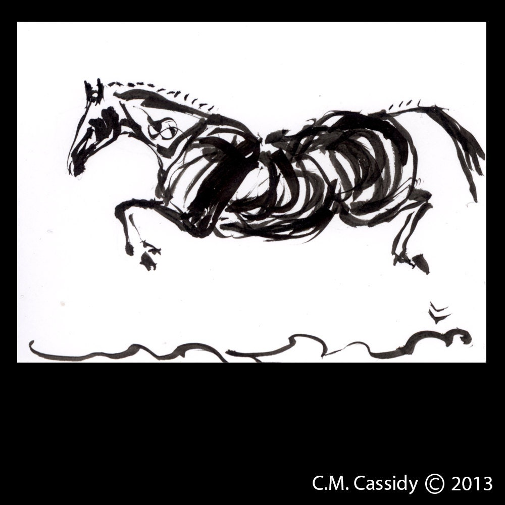 Horse Art: Flight. Original India Ink Drawing. Horse Jumping. Black Ink on White Paper. ATC. ACEO.