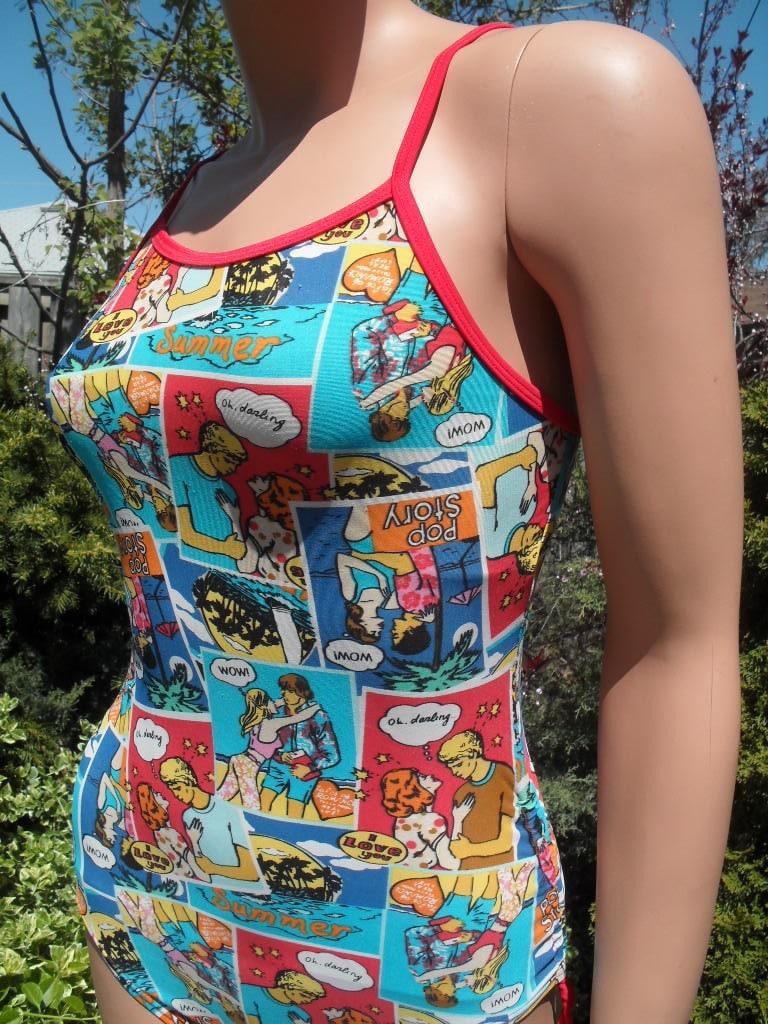 Vintage Comic Scene Swim Wear Full Body Bathing Suit Size medium
