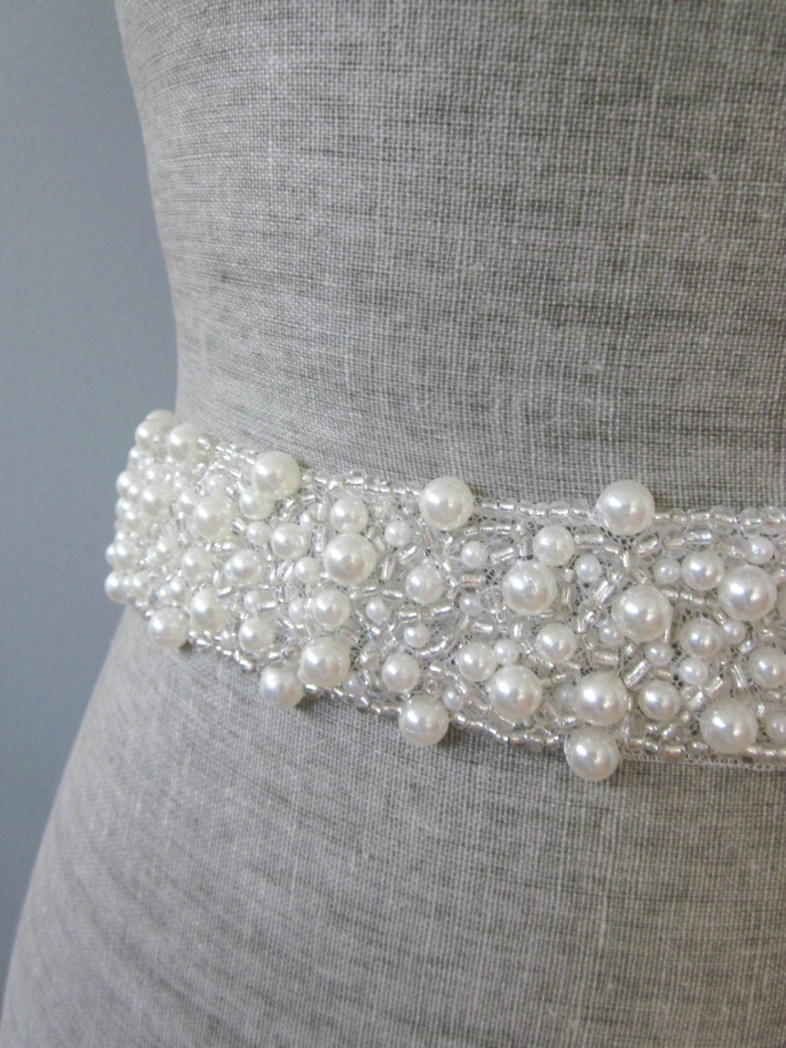 Pearl silver glass beads beaded bridal by allforlovebygina for Pearl belt for wedding dress
