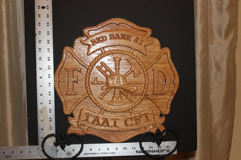 Maltese Cross Fire Fighter Wood Carved Oak By Tawoodandvinyl