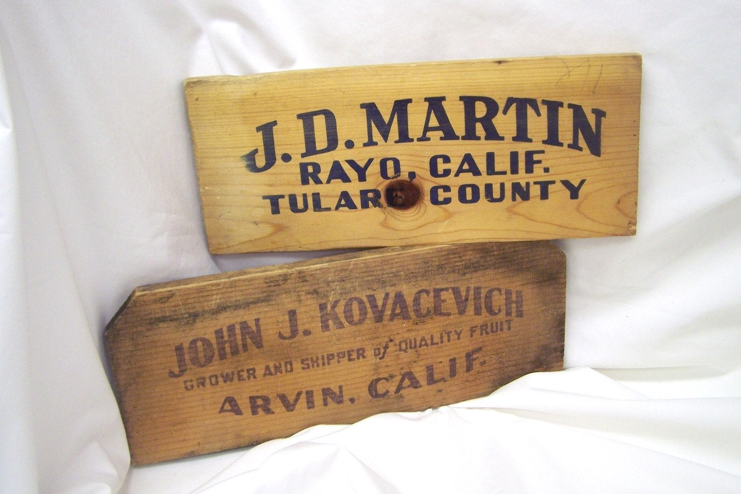 2  Vintage California Wood Food/Fruit Crate Pieces Great Home Decor