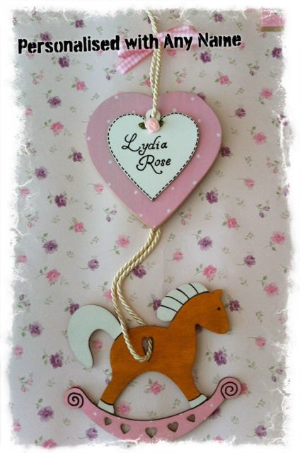 New Baby Plaque Keepsake Gift Personalised with Name for Boys  Girls  Rocking Hobby Horse Design