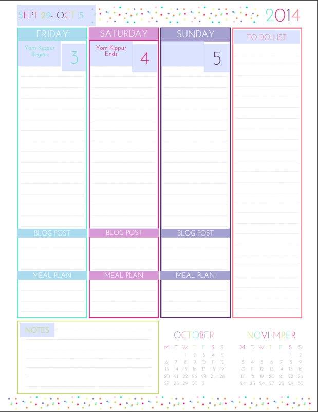 Daily Calendar Printable   Printable Editable Blank