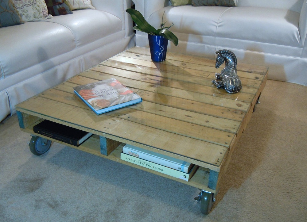 SALE Pallet Coffee Table with Glass Top by SibusFurnitureDecor