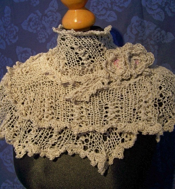 PDF KNITTING PATTERN - lace knitted scarf victorian style I - cashmere/silk