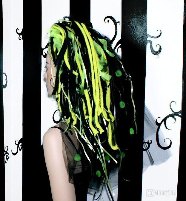 black and neon green hair. Neon Green Space Rocks Hair Falls