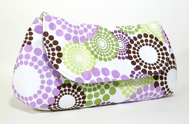 Clutch Purse Purple Green and Brown Circles Limited Edition