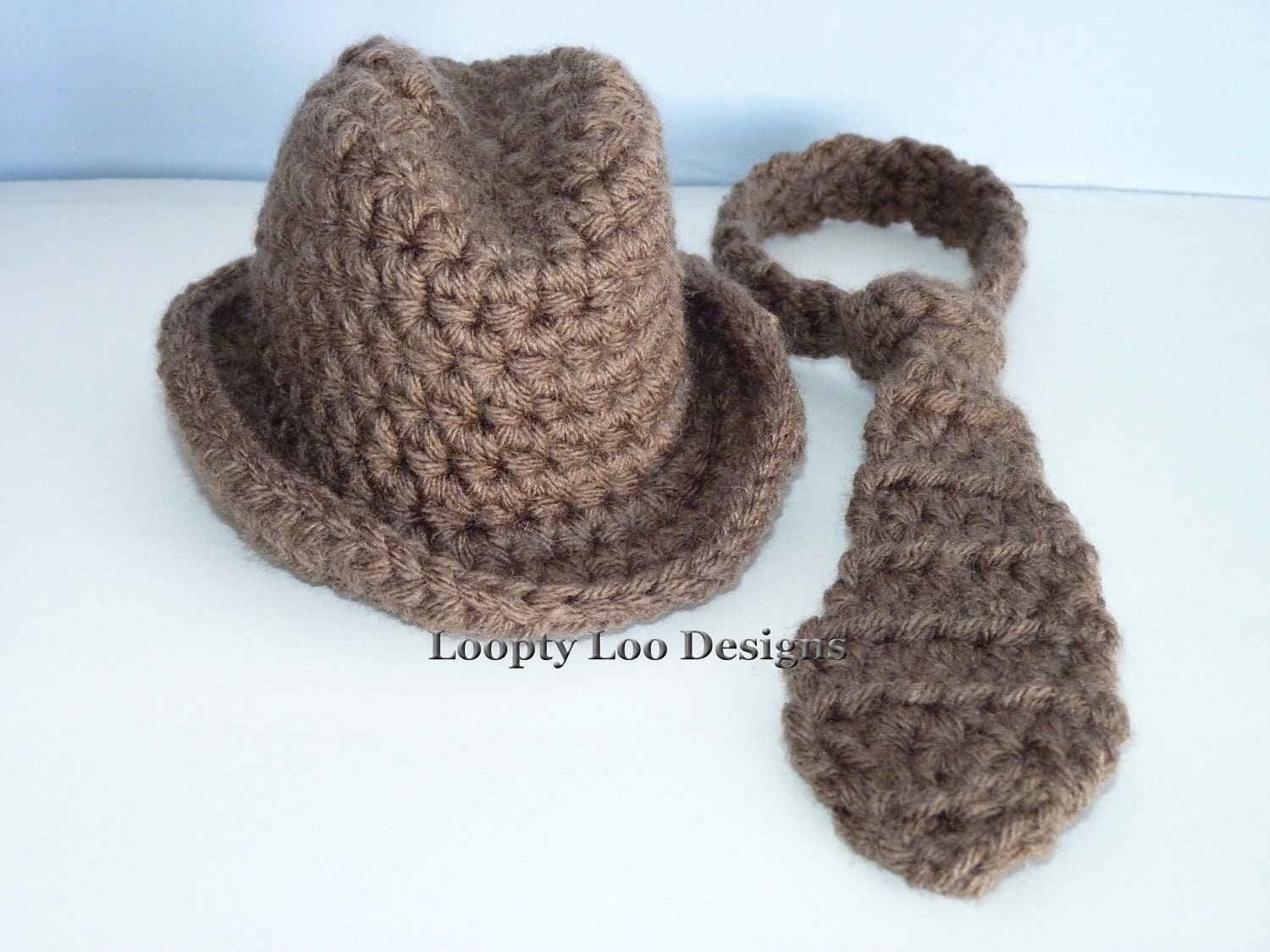 Boy Cowboy Fedora Hat and Tie Set Baby Boy by LooptyLooDesigns