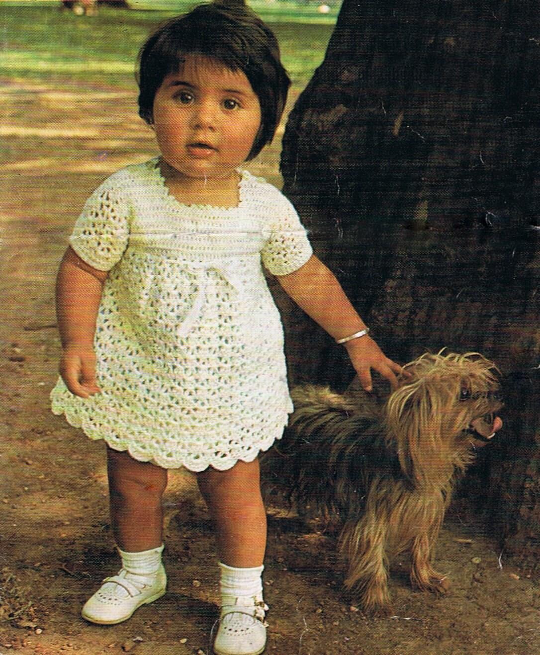 Vintage Crochet Baby Dress Pattern : Baby Dress Crochet Pattern T192 1960s Vintage by ...