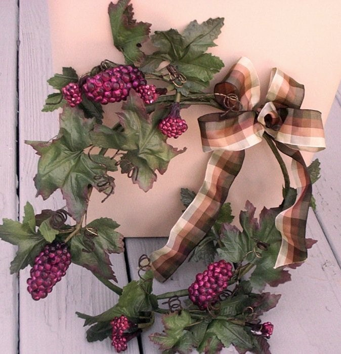 vineyard wreath grapes home decor purple grape wall by