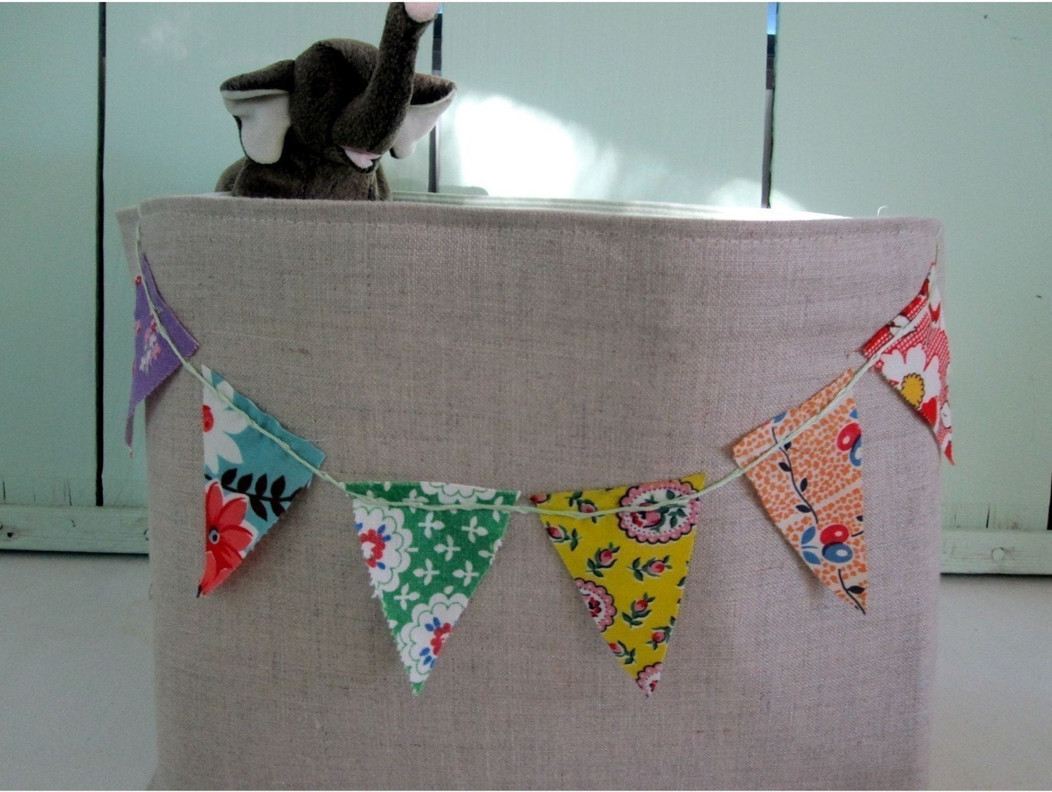 One Linen Extra Wide Fabric Bin with Feedsack Bunting Upcycled