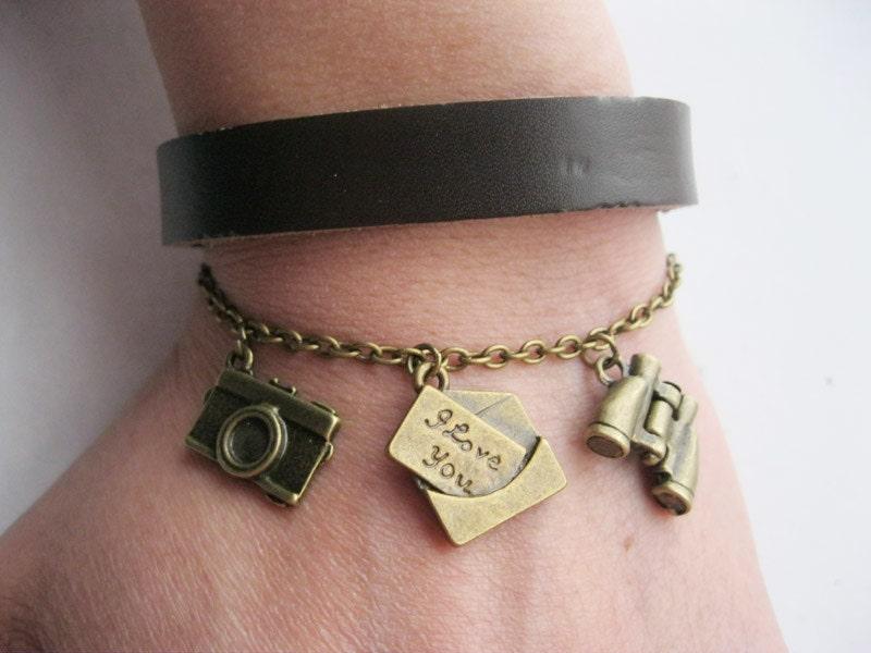 Bracelet-antique bronze love letter bracelet,camera bracelet,telescope bracelet