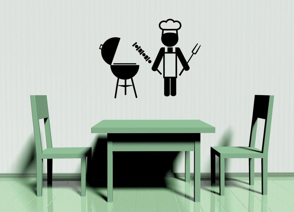 Bbq Restaurant Wall Decor : Barbeque bbq icon grill chef decal vinyl by vinylwallaccents