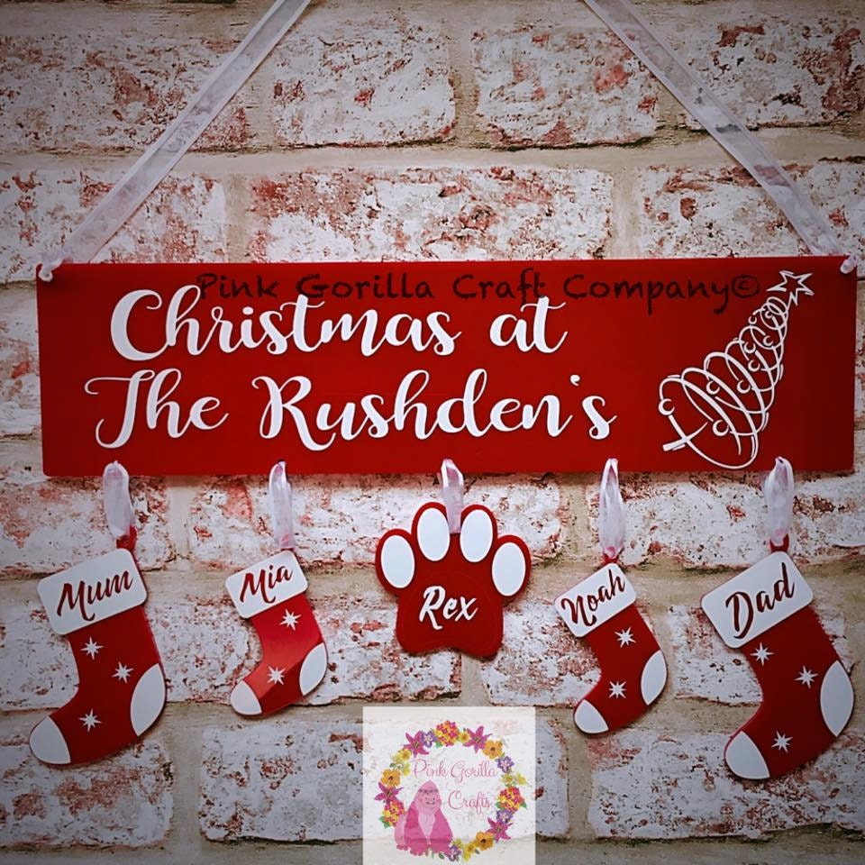 Personalised Christmas Plaque  Christmas Family Wall Name  Personalised Family Decoration  Family Stockings