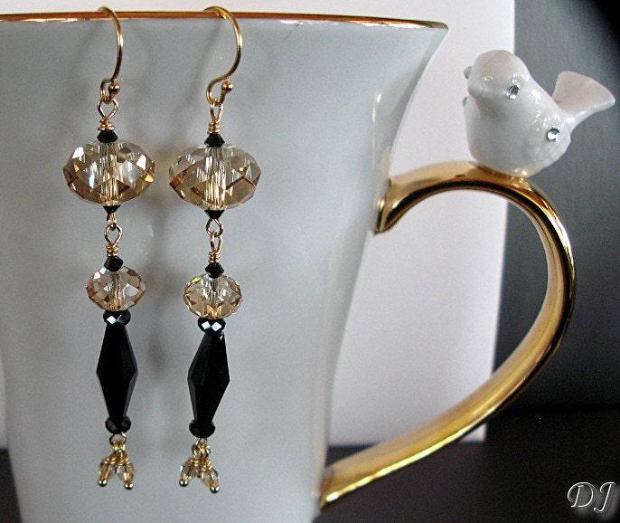 """Earrings Chandelier Earrings Crystal Earrings Long Dangle Black and Golden Crystal Earrings """"Silhouette"""" - DesertJemzz"""