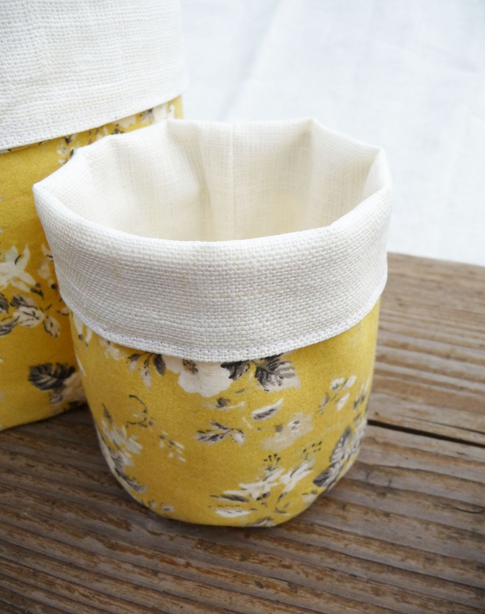 Little Mustard Fabric bucket /storage /organizer