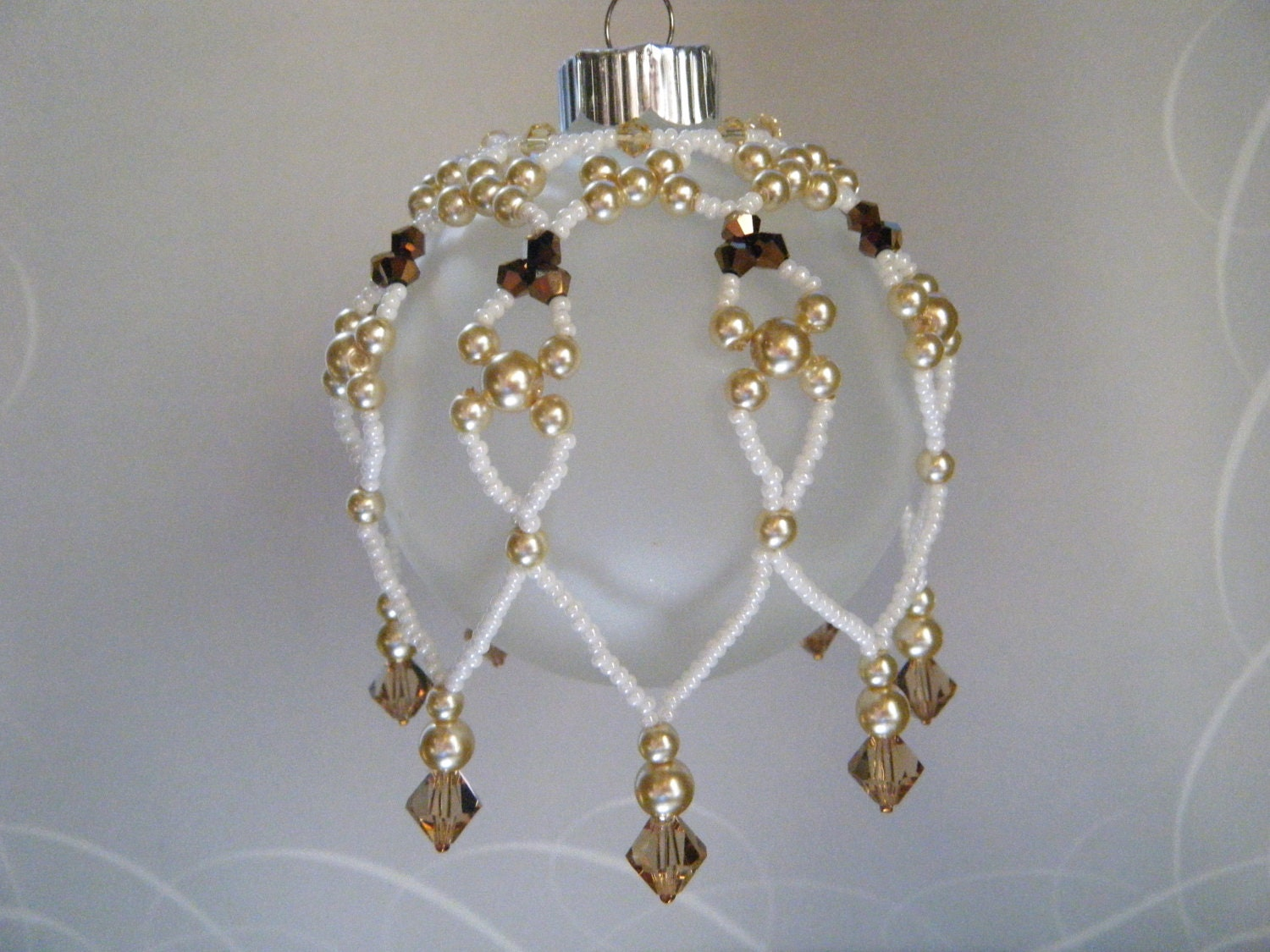 Beaded Christmas Ornament Cover/ Christmas Tree Decorations / Gold and Bronze Crystals and Pearls