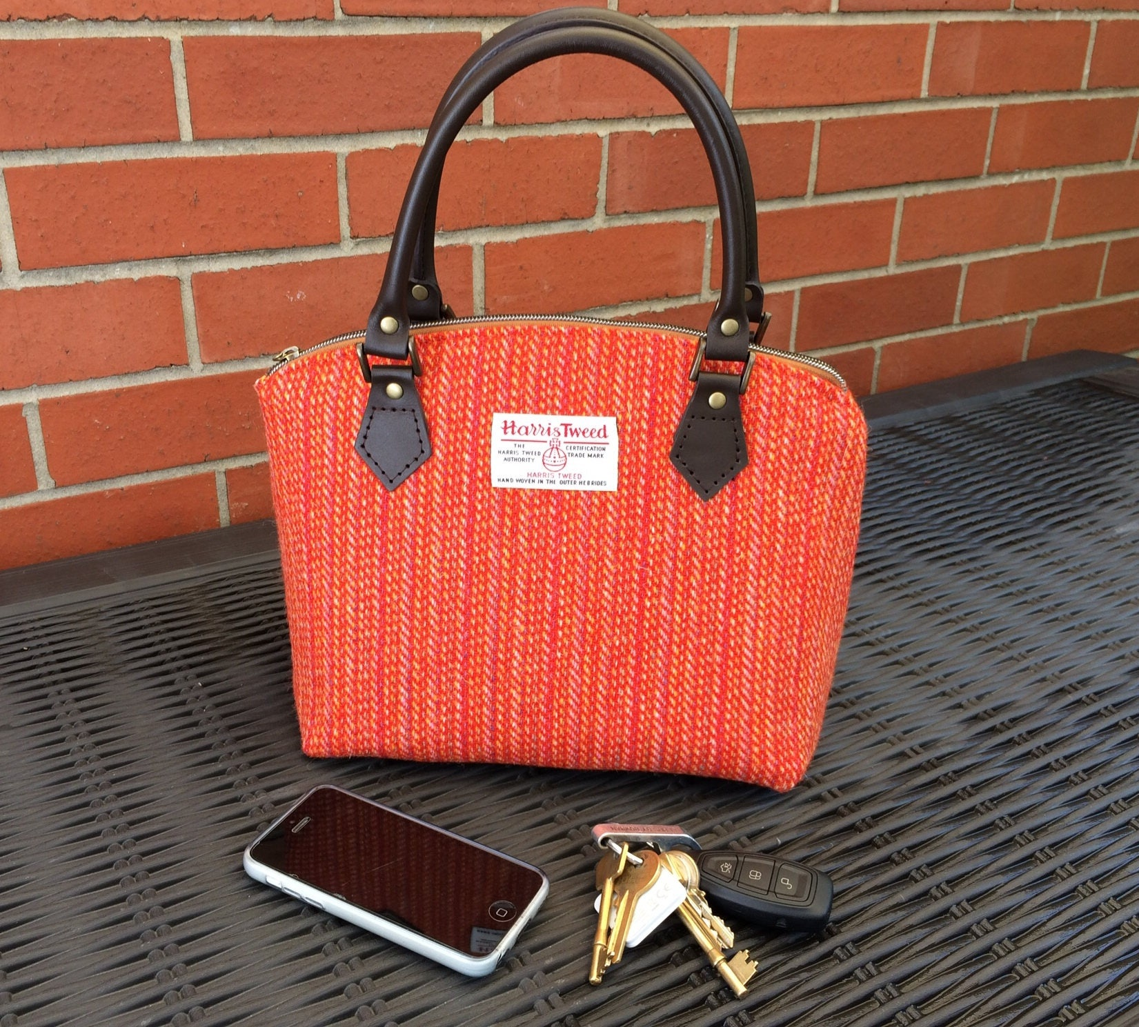 Harris Tweed handbag   ladies handbag  ladies purse  wool handbag  gift for mum  wool Anniversary gift  orange handbag  Swoon Lola