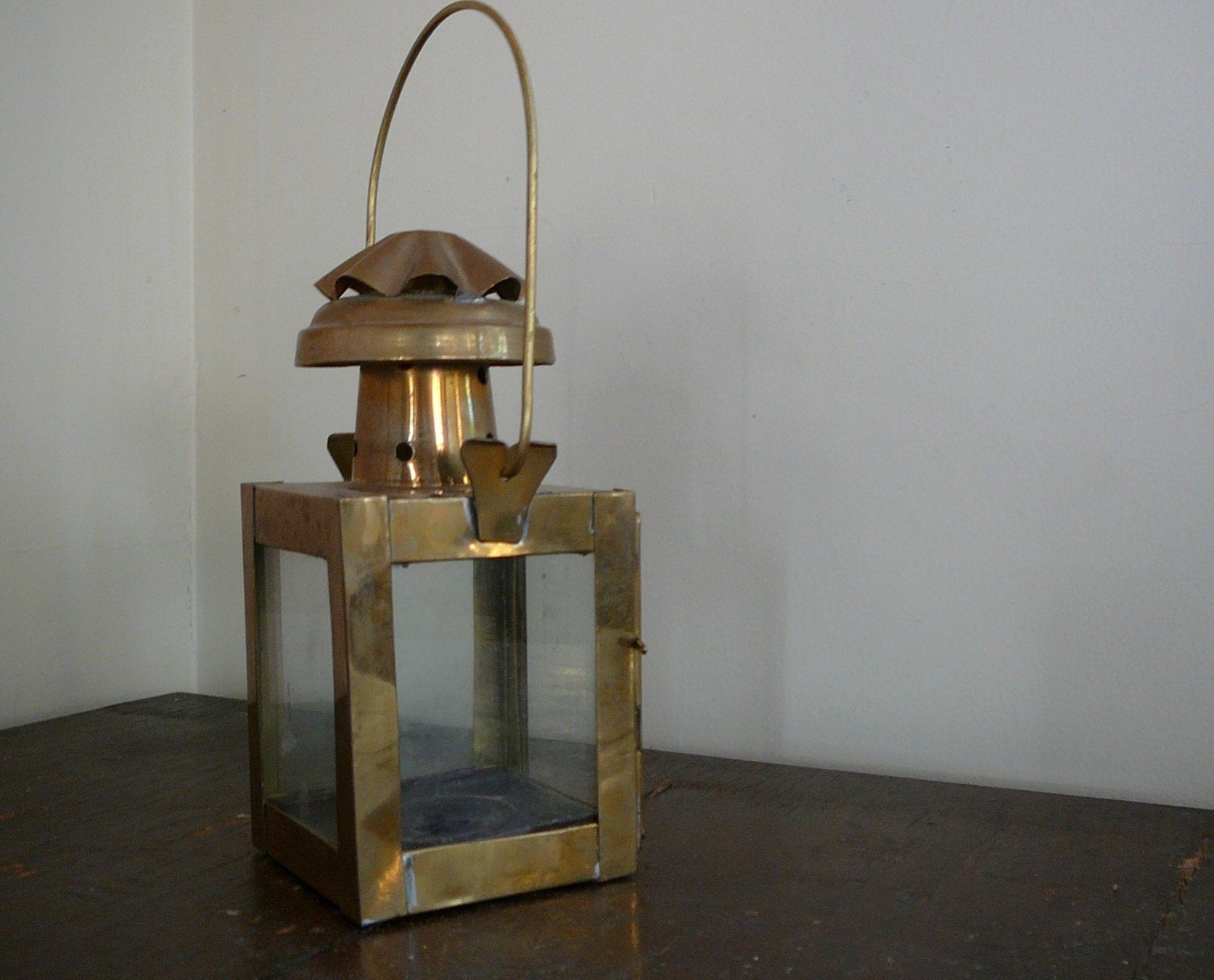 Vintage Brass and Glass Candle Lantern