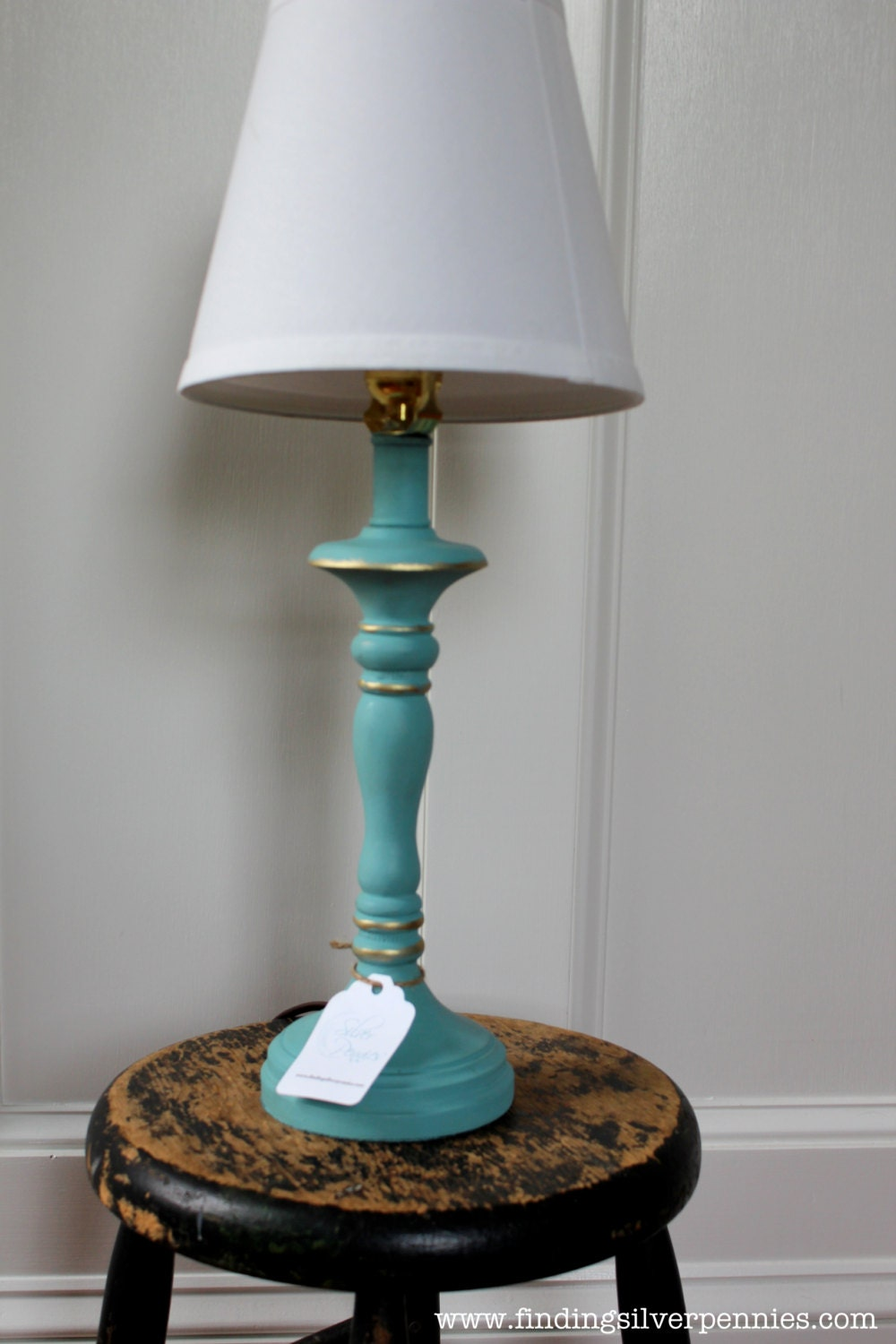 Turquoise Shabby Chic Lamp Annie Sloan by FindingSilverPennies