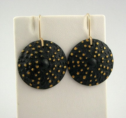Polymer Clay Earrings, Sea Urchin, Black, Gold