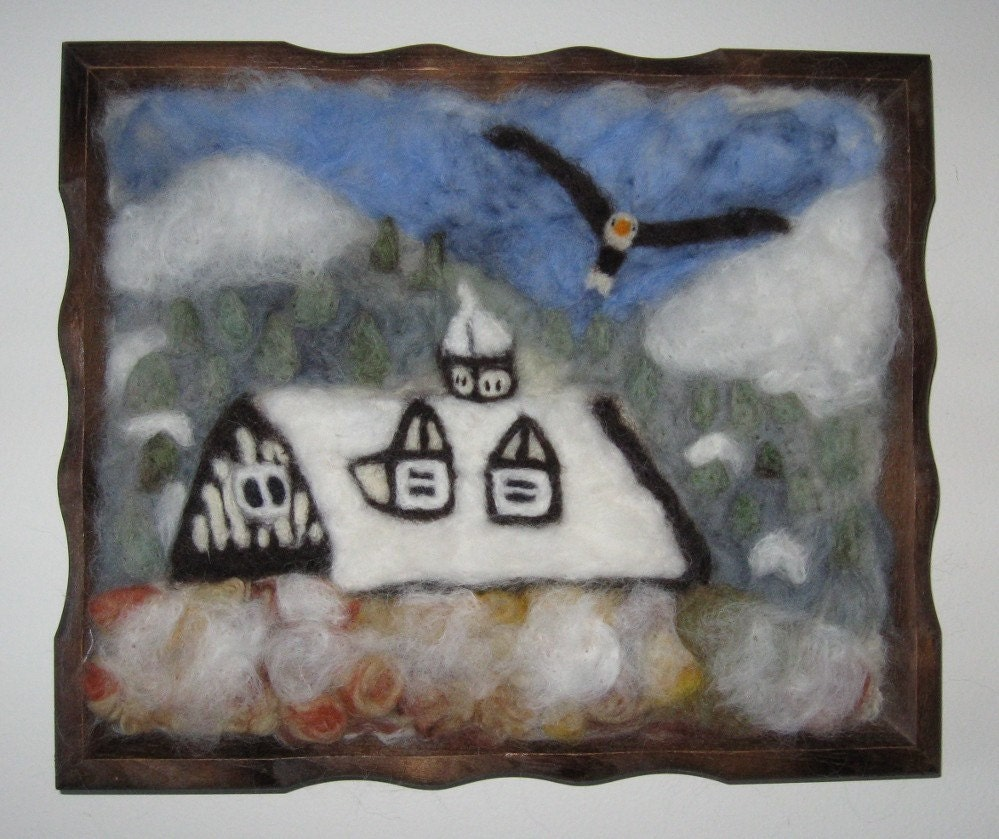 Needlefelt  Art Vermont Mountains OOAK Wool Painting by Artist Karen Clothier