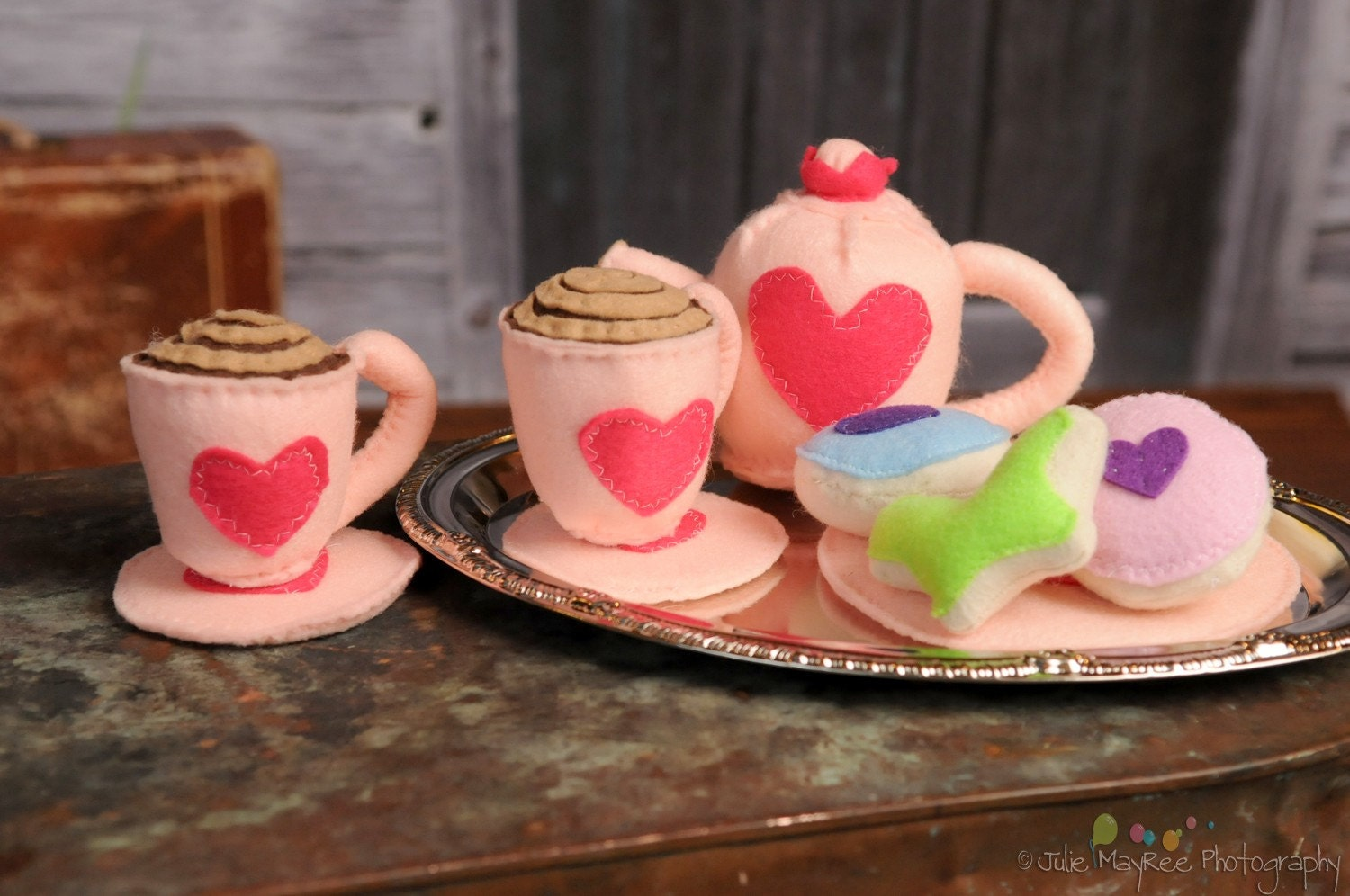 TEA SET - Eco Friendly Felt Play Food - Princess Tea Party Set on Silver Platter - Pink - Deliciously scented sugar cookies - Perfect for Valentine's Day