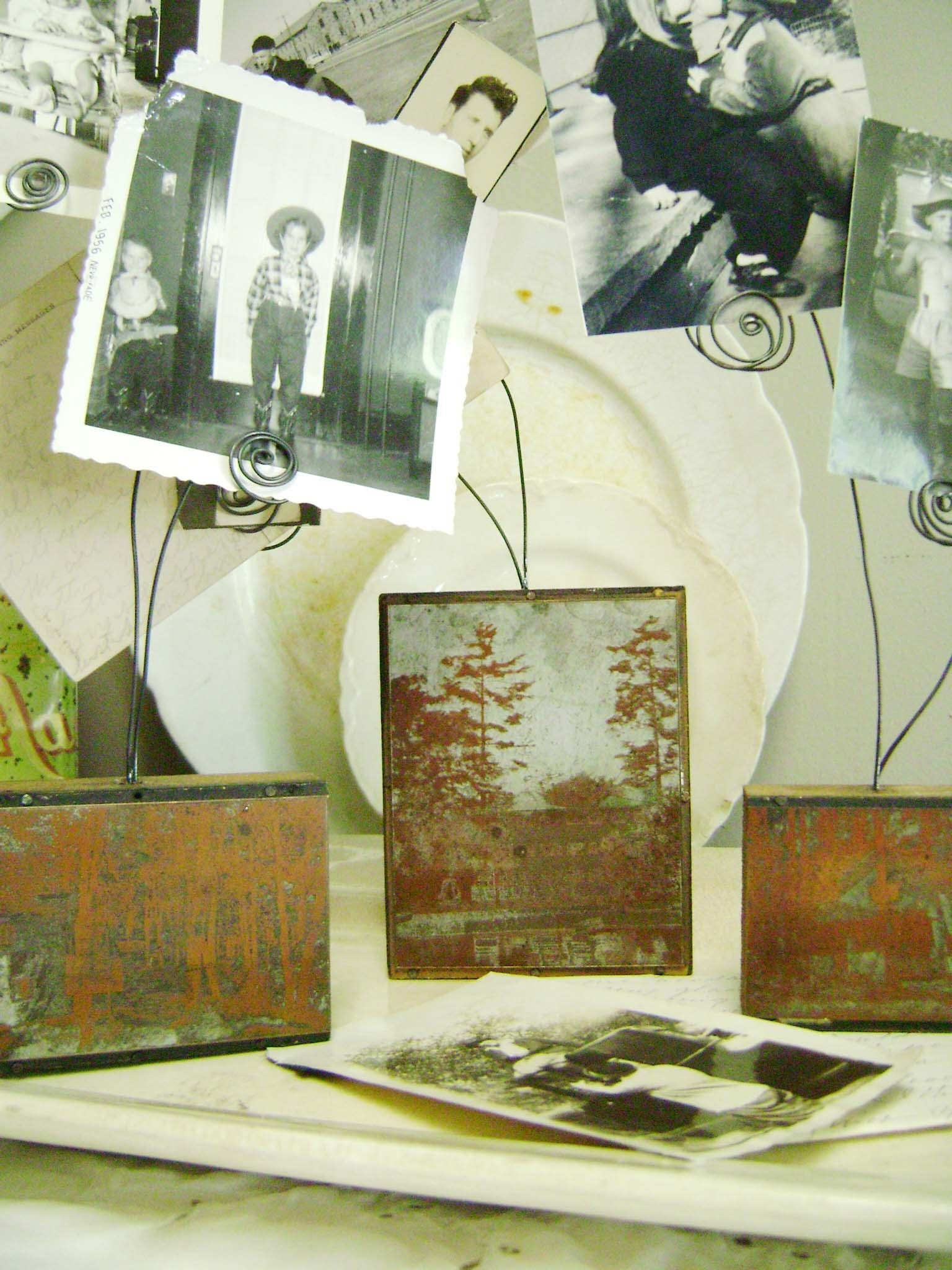 Home, vintage assemblage printer's block display pieces