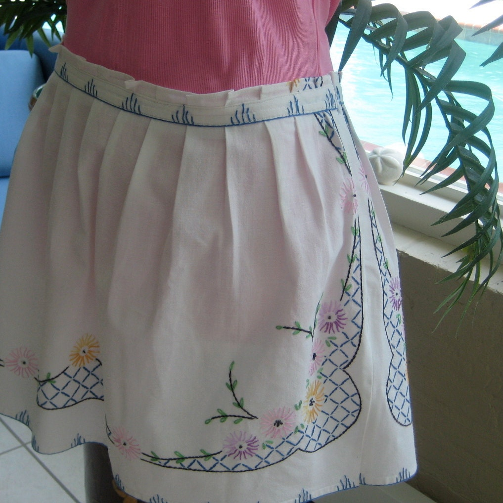 Embroidered skirt repurposed from vintage linens by nanlouise
