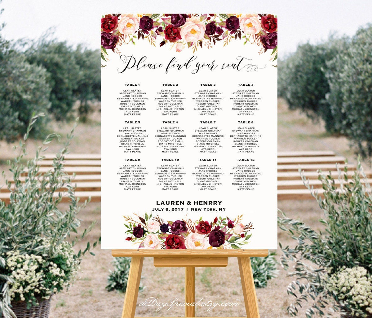 Diy wedding seating chart poster template