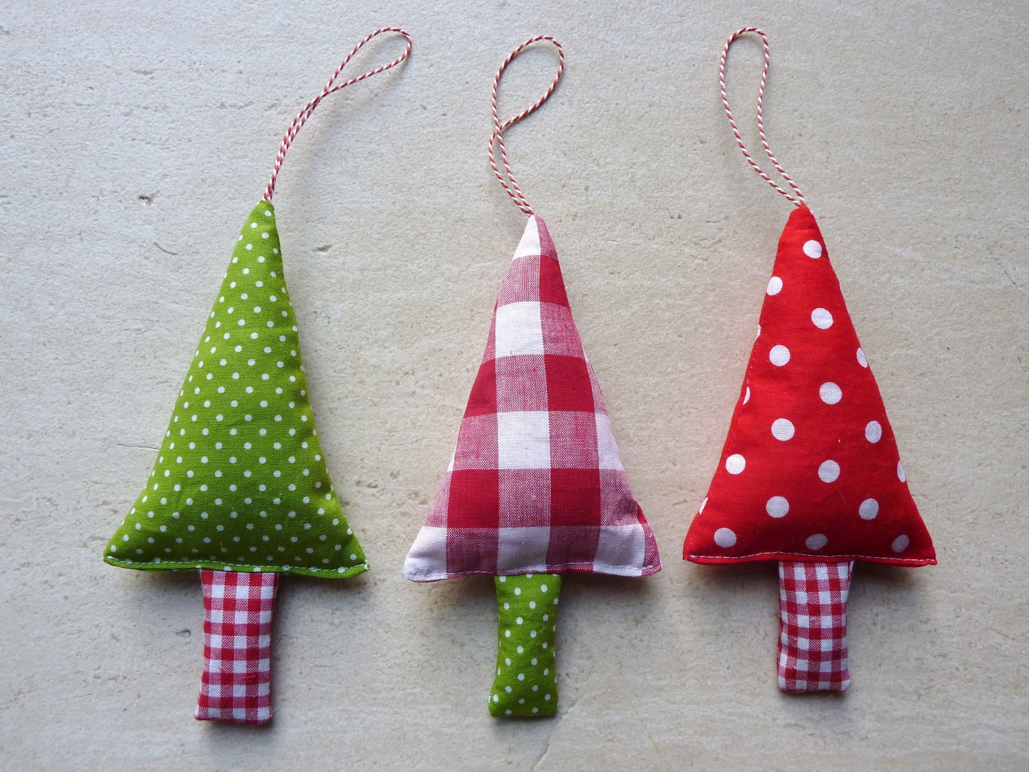 Fabric Christmas Ornaments Tree Decorations in green by FromJeanne