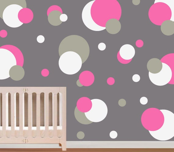 wall stickers gray pink polka dot vinyl by modernwalldecal. Black Bedroom Furniture Sets. Home Design Ideas
