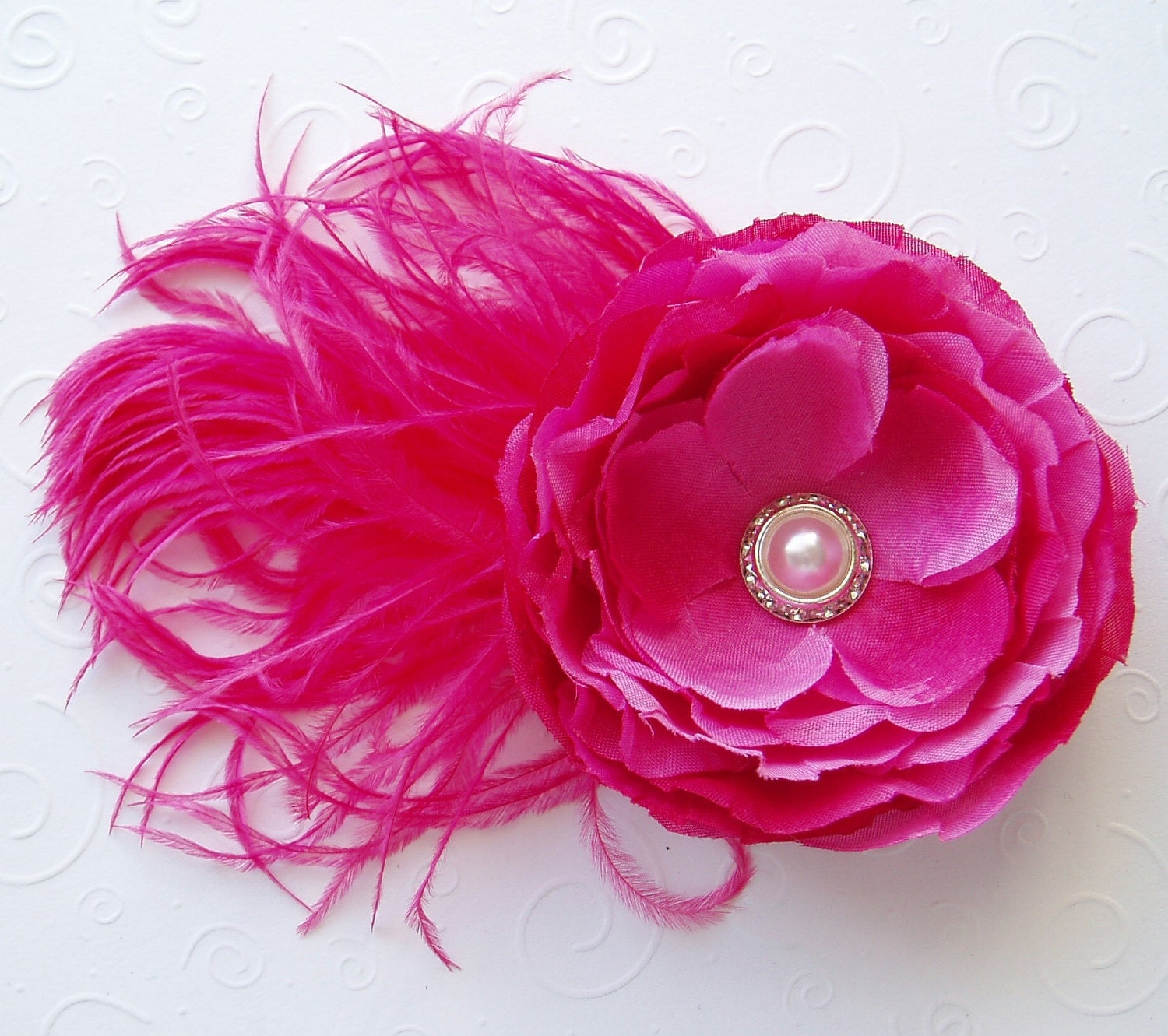 Wedding Hair Flowers Pink : Wedding hair flower fuschia pink bridesmaid clip by weegardens