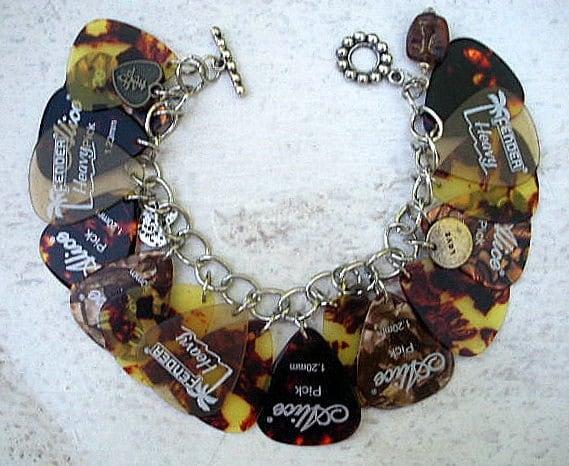 handcrafted charm bracelet using guitar picks