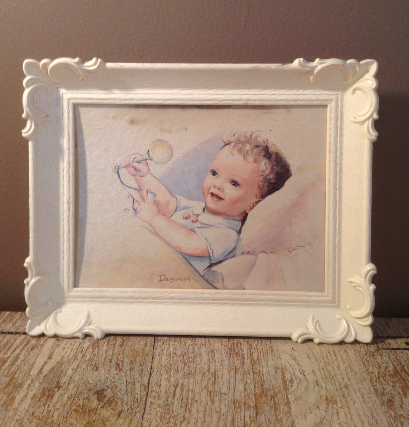 Vintage Baby Boy Wall Art - Nursery Decor - Framed Retro Baby Painting - PackandAlleys