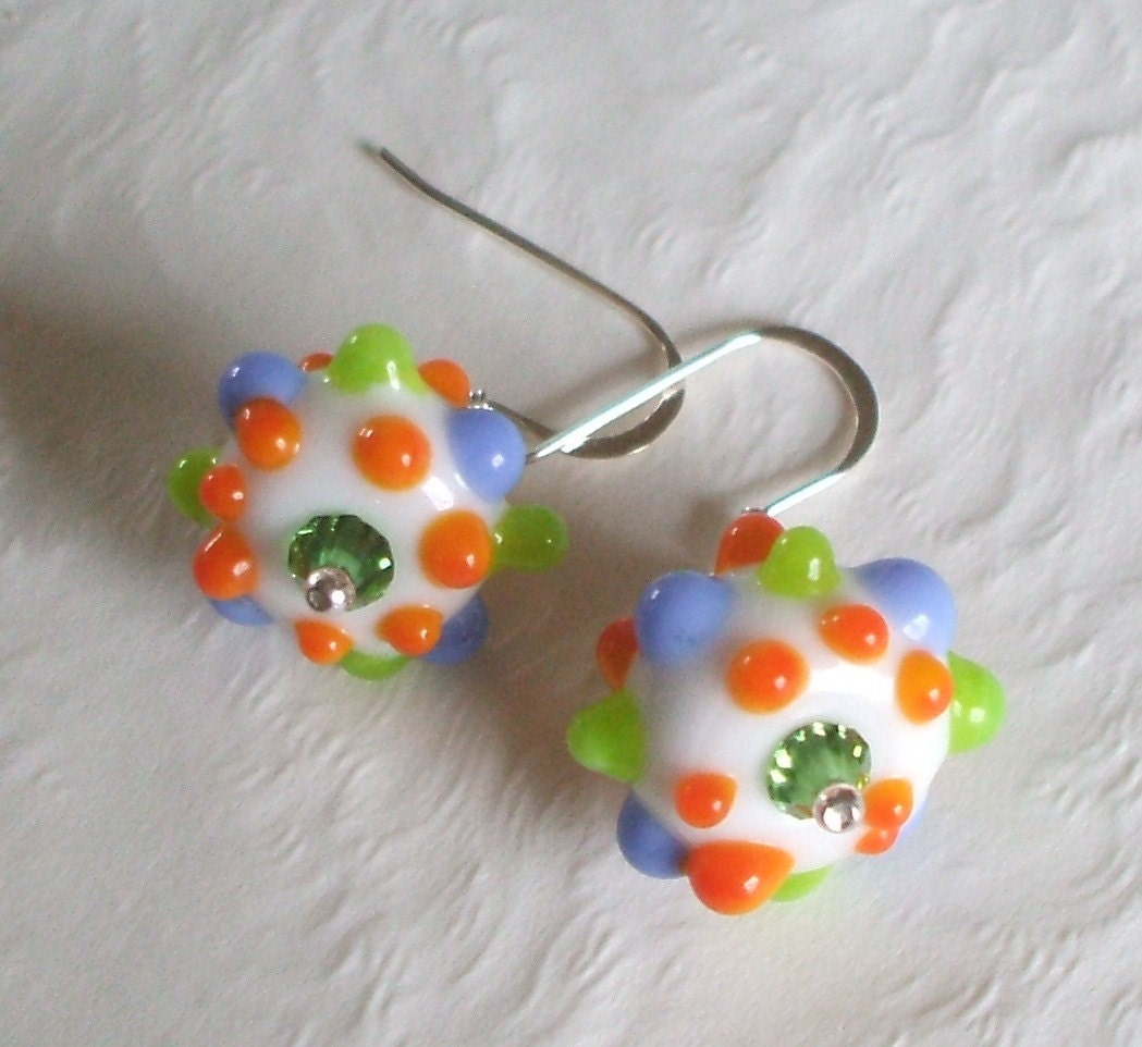It's A Party In Your Ears Lampwork Bead and Sterling Silver Earrings