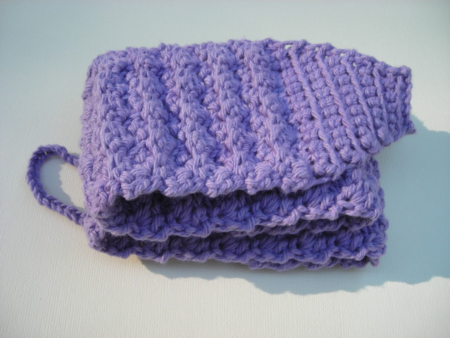 Extra Long Back Scrubber Washcloth in Lilac Purple