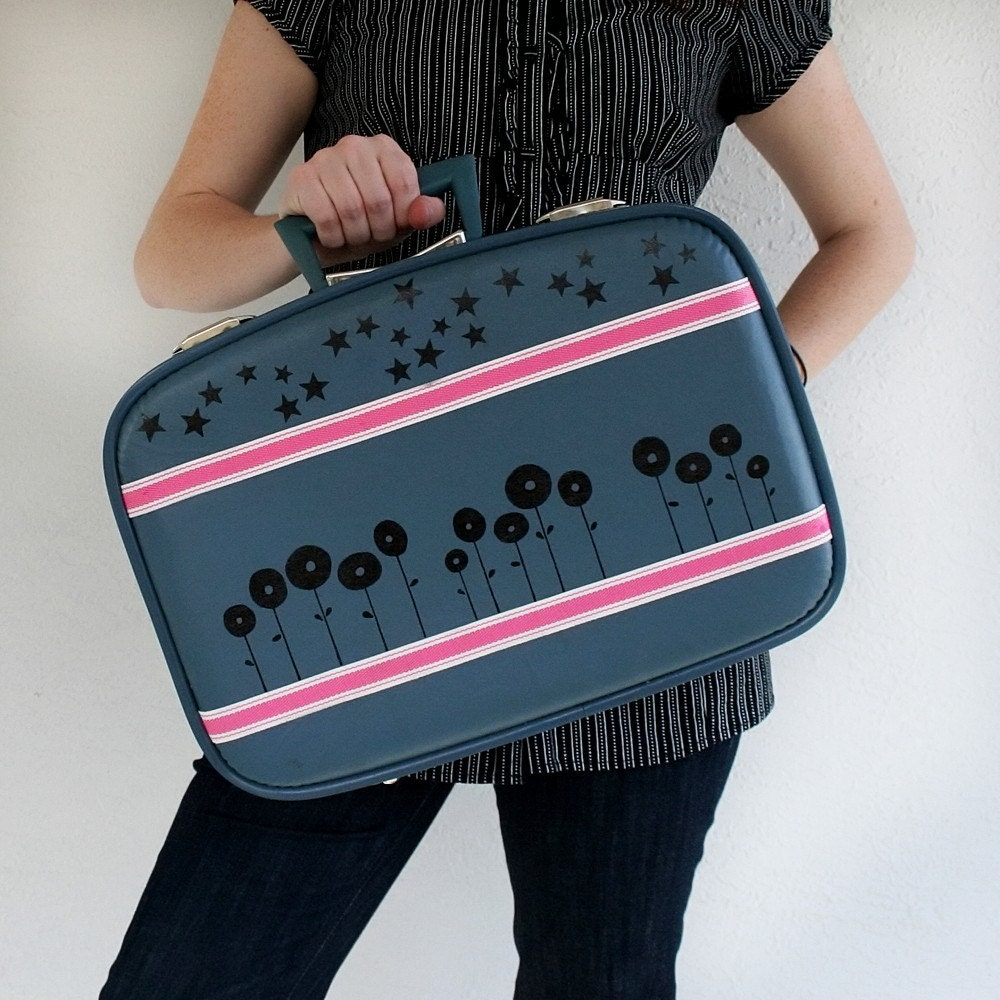 UPCYCLED Blue VINTAGE Suitcase Luggage with Row of Poppies Black Stars and Pink Sport tape stripes