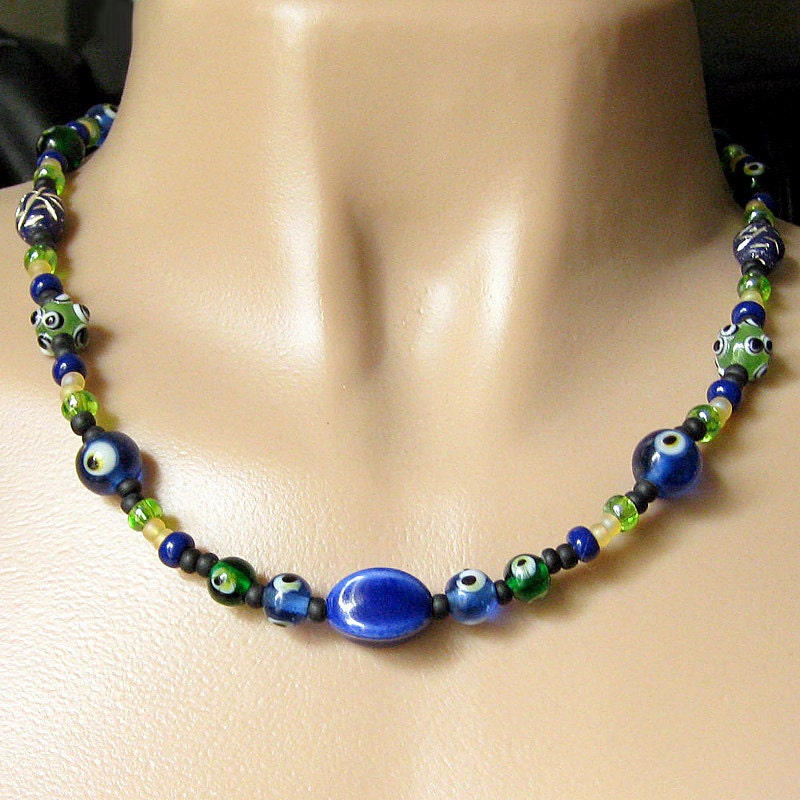 Evil Eye Norse Necklace Strand in Blue and Green (22-inches) - Historical Reenactment Jewelry