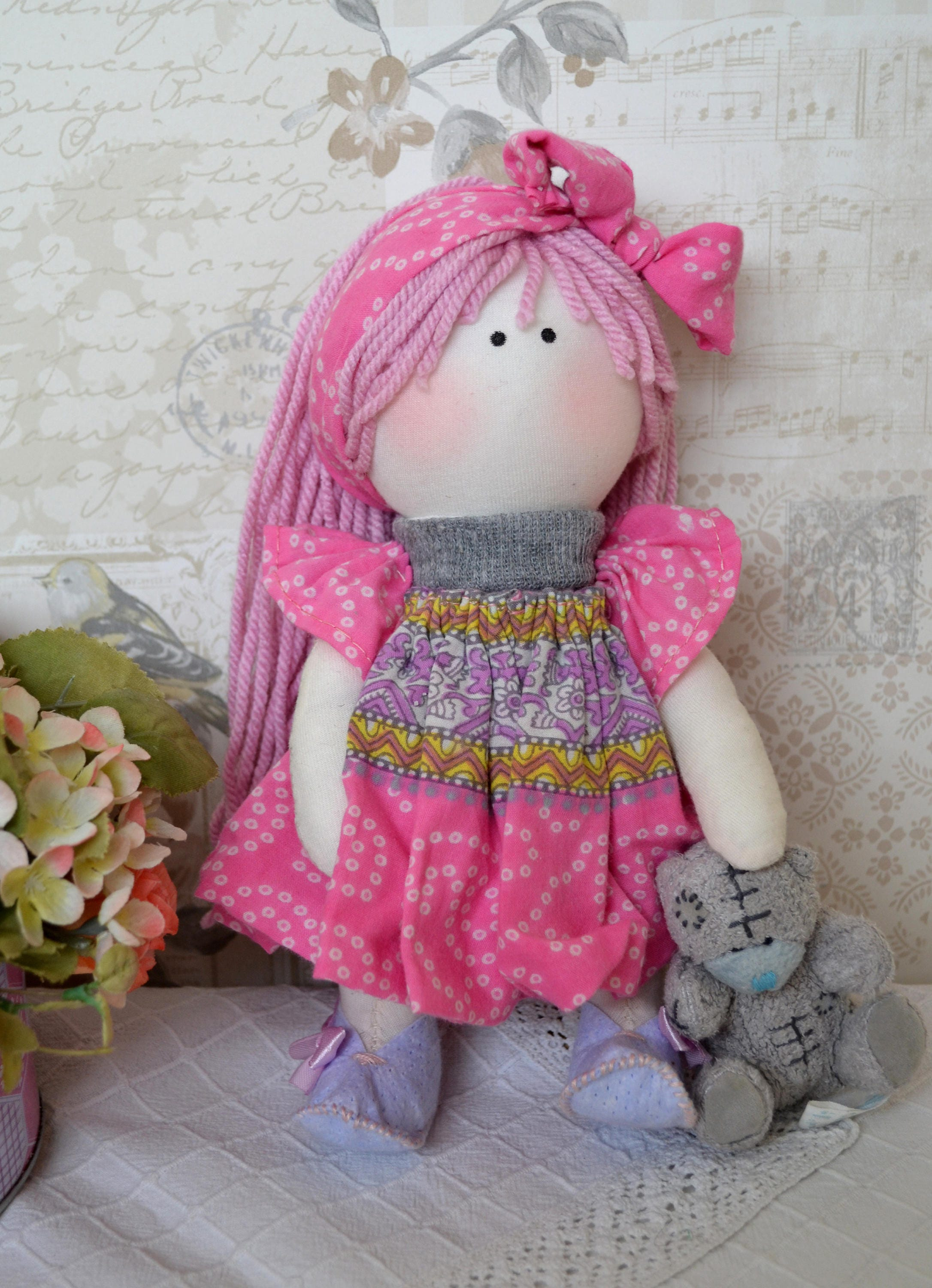 Lily Handmade collectable Lindy doll toy Russian dolls hand stitched personalise cloth craft