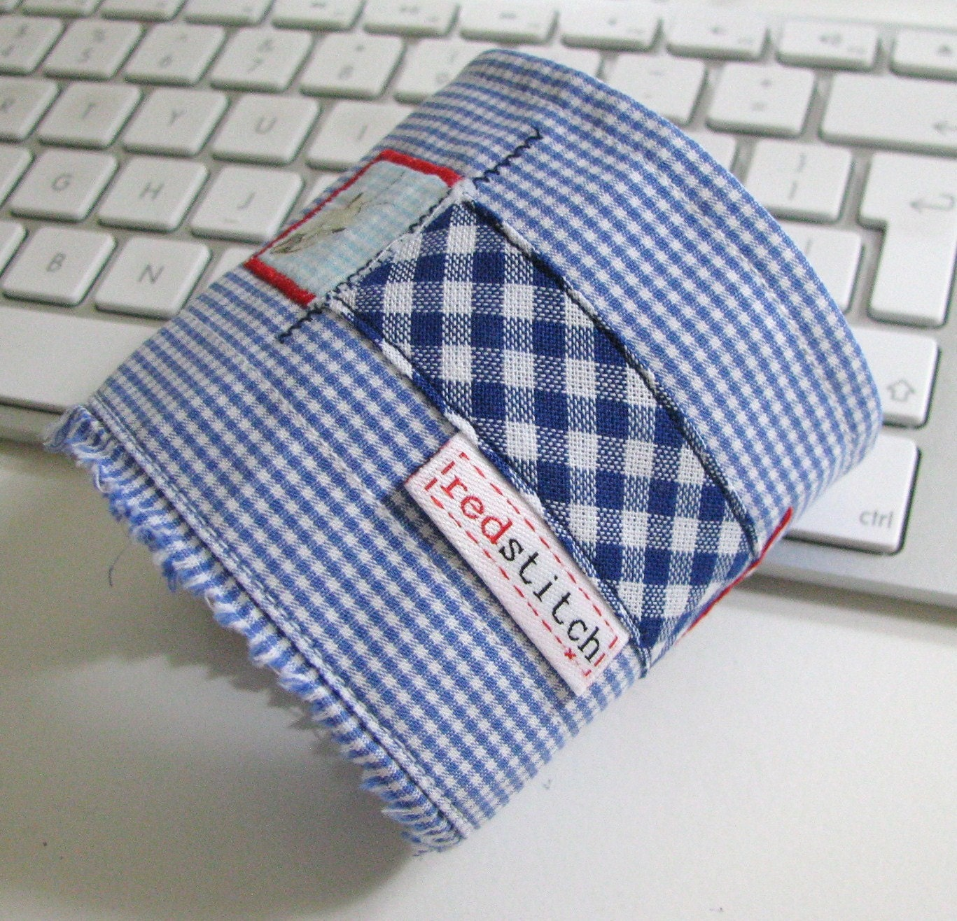 blue gingham repurposed wrist cuff made by redstitch on Etsy