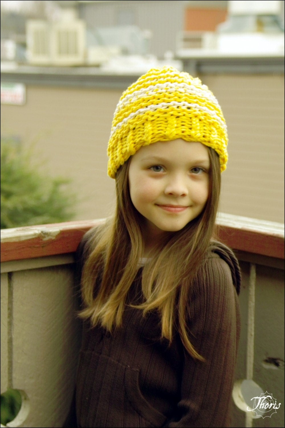 Trek - Cotton Knit Beanie in Sunshine and Clouds by ThorisDesigns