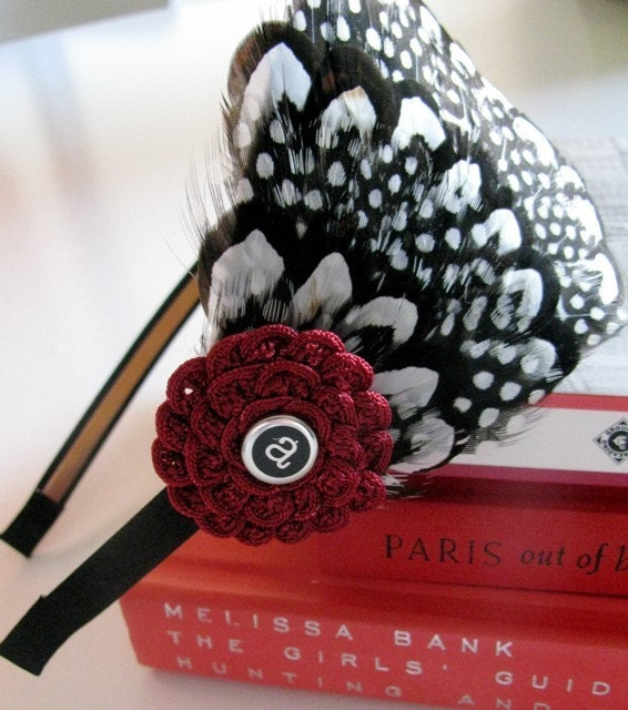 CLEARANCE Feather Headband  Initially Yours Polka Dot Flower Accent