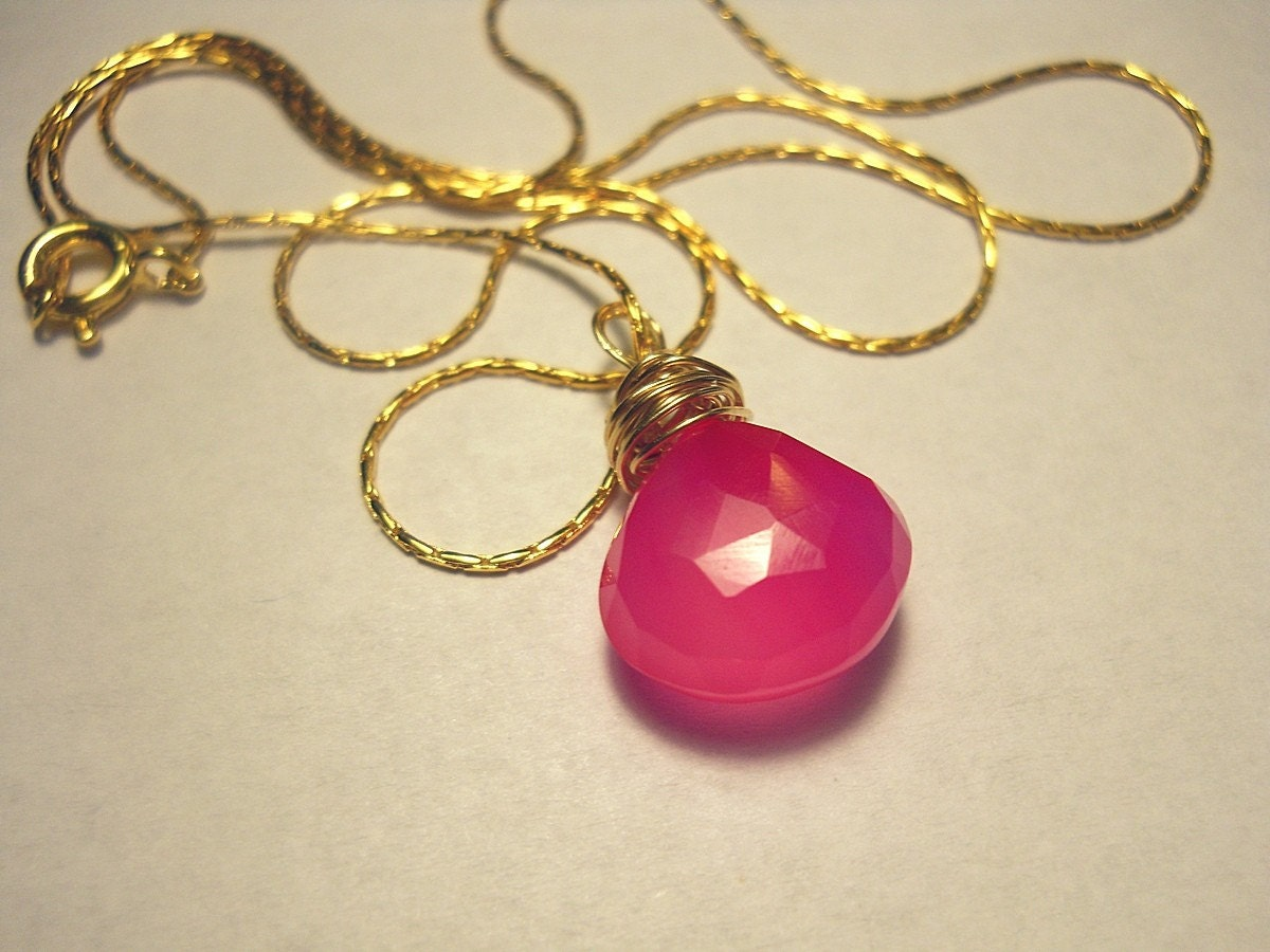 Hot Pink  Chalcedony 14k Gold Pendant Necklace