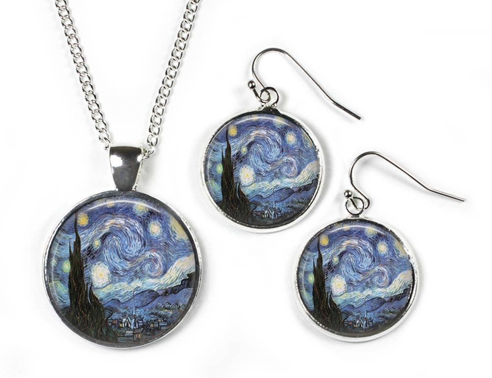 STARRY NIGHT Vincent Van Gogh  Set Pendant Chain  Earrings  Glass Picture Jewellery  Silver Plated