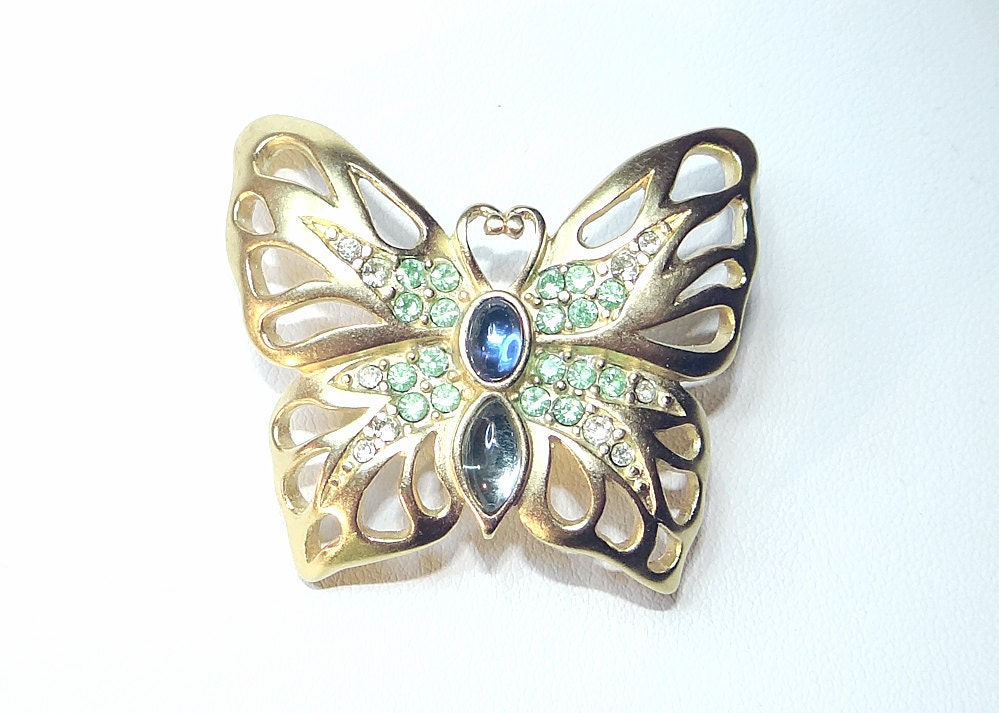 Vintage Gold-tone and Rhinestone Butterfly Brooch - Betsysbijoux