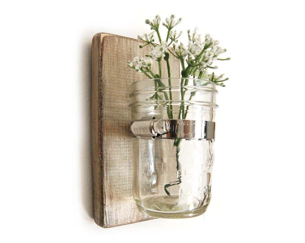 wall sconce wood vase mason jar metallic taupe by oldnewagain. Black Bedroom Furniture Sets. Home Design Ideas