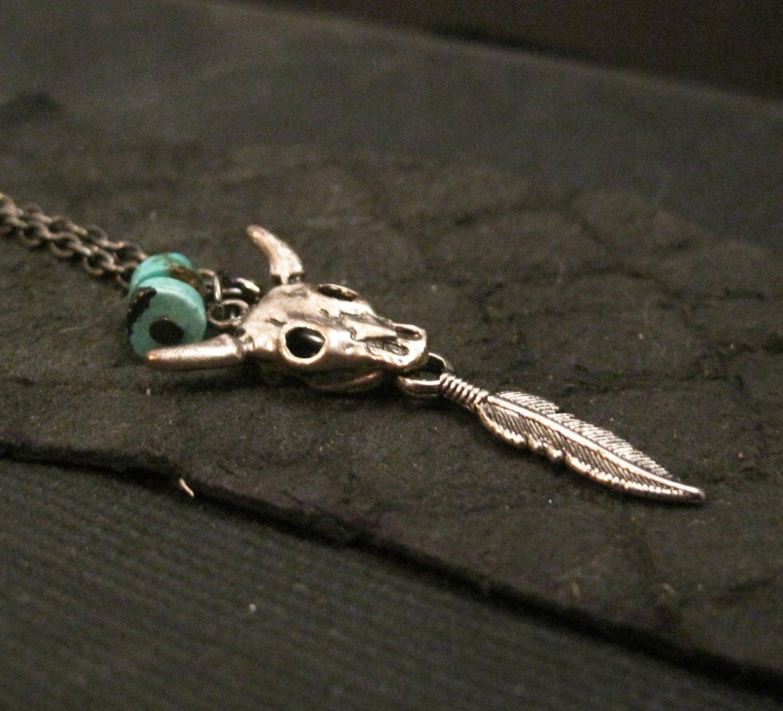 Turquoise Steer Skull - Men's Necklace