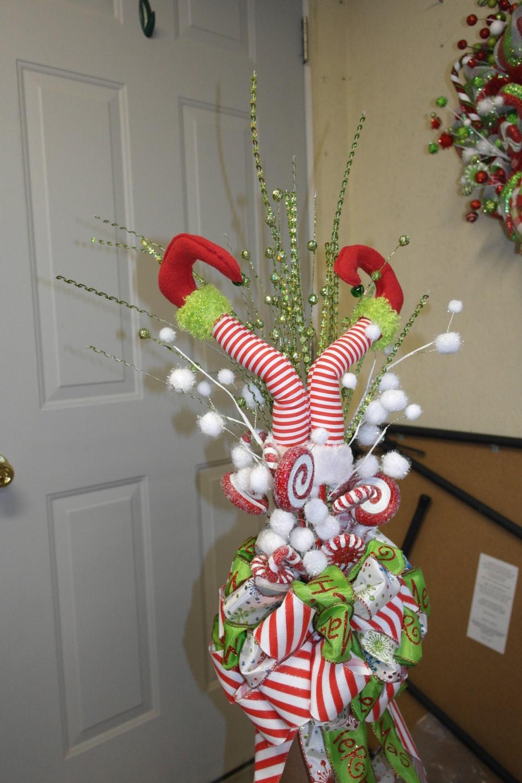 Elf Legs Christmas Tree Topper by DecoMeshObsession on Etsy