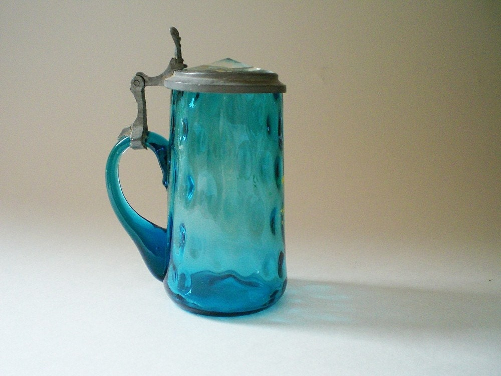 Vintage German  beer stein, sapphire blue inverted thumbprint glass